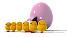 An angled view of 6 Easter Chicks with a Spaceship Egg Royalty Free Stock Images