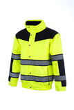 Angled View of a High-Visibility Rain Jacket Stock Images