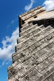 Angled View of Kukulkan Pyramid at Chichen Itza Royalty Free Stock Image