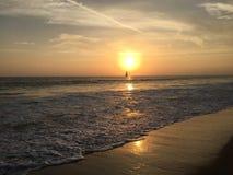 Sailboat at sunset royalty free stock image