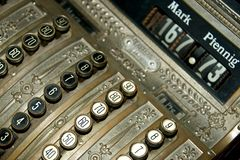 Angled view of old German cash register Royalty Free Stock Photos