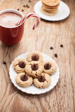 Angled view of plate of chocolate peanut blossom cookies Royalty Free Stock Photography