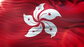 Flag of Hong Kong waving on sun. Seamless loop with highly detailed fabric texture. Loop ready in 4k resolution.