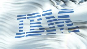 IBM flag waving on sun. Seamless loop with highly detailed fabric texture. Angled view of a realistic 4K flag of the IBM waving on sun. Seamless loop with highly stock video