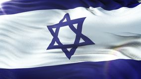 Flag of Israel waving on sun. Seamless loop with highly detailed fabric texture. Loop ready in 4k resolution.