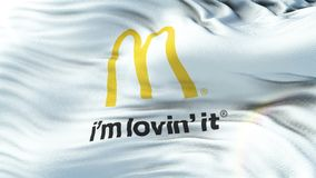 MCDONALDS flag waving on sun. Seamless loop with highly detailed fabric texture vector illustration