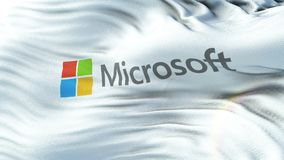 MICROSOFT flag waving on sun. Seamless loop with highly detailed fabric texture. Angled view of a realistic 4K flag of the MICROSOFT waving on sun. Seamless loop stock video footage