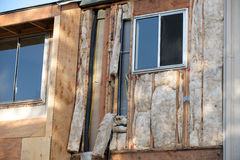 Angled view two windows under construction with framework Royalty Free Stock Images