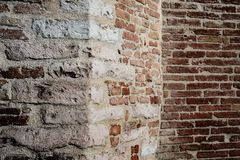 Angled wall. Medieval angled wall made of bricks Stock Photos