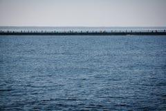 Angler auf dem Pier und den anziehenden Fischen Stockbilder