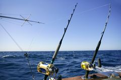 Angler boat big game fishing in saltwater Stock Photo