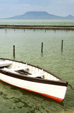 Angler boat in Fonyod at Lake Balaton Stock Image