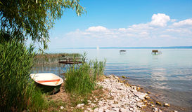 Angler boat at Lake Balaton, Hungary Royalty Free Stock Photos