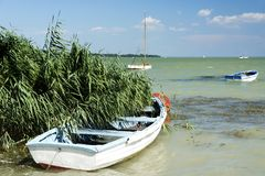 Angler boats at Lake Balaton. Hungary stock image