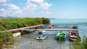 Angler boats at Lake Balaton,Hungary Royalty Free Stock Image