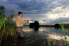 Angler. Catching the fish during cloudy sunset stock photography