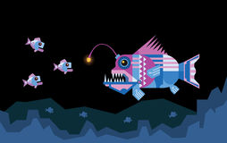 Angler fish attracts prey. The angler fish uses its illuminated lure for attract prey Stock Image