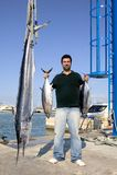 Angler fish catch albacore tuna and spearfish. Mediterranean Royalty Free Stock Photo