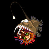 Angler fish with indian mask on a black background. Vector card Stock Photography