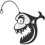 Angler fish. Isolated on white background. Logo evil fish Royalty Free Stock Images