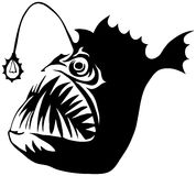 Angler Fish. Isolated on white background. Logo evil fish Royalty Free Stock Images