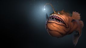 Free Angler Fish On Background Of Dark Blue Water Realistic Illustration Art. Stock Photos - 146853363