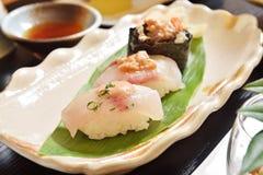 Angler fish sushi. Delicious Japanese food - Angler fish sushi Stock Images