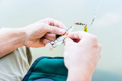 Angler fixing lure at hoof of fishing rod. On lake stock images