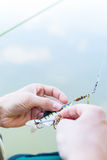 Angler fixing lure at hoof of fishing rod Stock Photography
