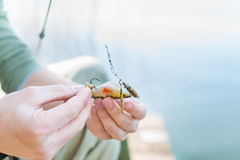 Angler fixing lure at hoof of fishing rod Royalty Free Stock Image