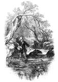 Angler fly fishing. An engraved illustration image of a male adult angler fly fishing in a river from a Victorian book dated 1857 that is no longer in copyright stock illustration