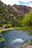 Angler on the Gunnison. Fisherman tries his luck in swift waters of the river in Black Canyon of the Gunnison National Parkin Colorado Stock Images