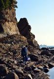 An angler and the Japanese mountain. In Wakayama royalty free stock photos