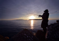 An angler and the Japanese sea. In Wakayama royalty free stock images
