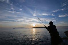An angler and the Japanese sea. An angler and the Japanese sea in wakayama Japan royalty free stock image