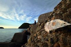 An angler and the Japanese sea. An angler and the Japanese sea in wakayama Japan royalty free stock photography