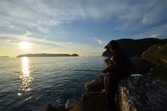 An angler and the Japanese sea. An angler and the Japanese sea in wakayama Japan royalty free stock photo
