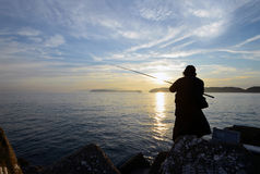 An angler and the Japanese sea. An angler and the Japanese sea in wakayama Japan royalty free stock images