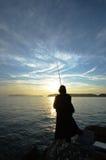 An angler and the Japanese sea. An angler and the Japanese sea in wakayama Japan stock photo