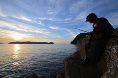 An angler and the Japanese sea. An angler and the Japanese sea in wakayama Japan royalty free stock image