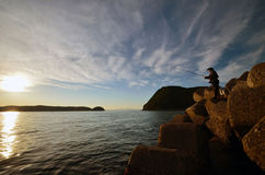 An angler and the Japanese sea. An angler and the Japanese sea in wakayama Japan stock photos
