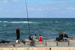 Angler on the Mediterranean in Alexandria Royalty Free Stock Photography