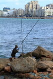 Angler on the Mediterranean in Alexandria Royalty Free Stock Image