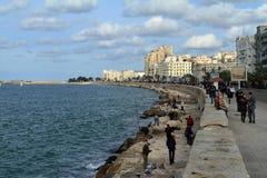 Angler on the Mediterranean in Alexandria Royalty Free Stock Photos