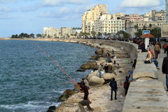 Angler on the Mediterranean in Alexandria Royalty Free Stock Images