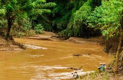 Angler mit Natur Stockfoto