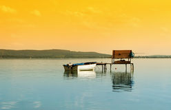Angler pier at Lake Balaton Stock Photo
