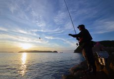 Angler in the wakayama Japan. An Angler in the wakayama Japan royalty free stock images