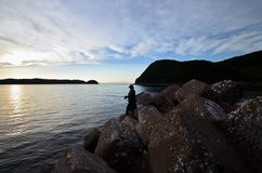 Angler in the wakayama Japan. An Angler in the wakayama Japan royalty free stock photo