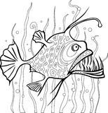 Anglerfish coloring page Royalty Free Stock Photography